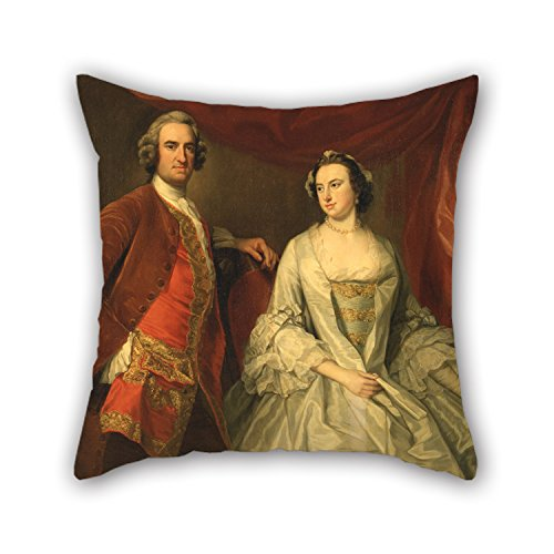 Oil Painting George Knapton - A Man And A Woman, Possibly Of The Missing Family, Of Little Park House, Wickham, Hampshire Pillowcover 18 X 18 Inches / 45 By 45 Cm For Lover Sofa Outdoor Teens Girl