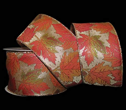 """25 Feet Fall Autumn Gold Glitter Accented Leaves Golden Wired Ribbon 2 1/2""""W z1"""