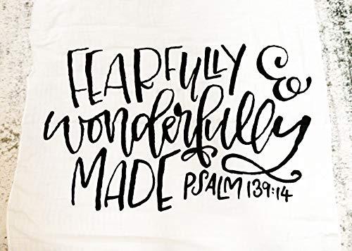 (Jack & Jules Design - White Muslin Baby Swaddle Blanket - Psalm 139:14 - For Dedication, Christening, Baptism, God Child Gift - Bamboo and Organic Cotton - Breathable - Machine Washable (47