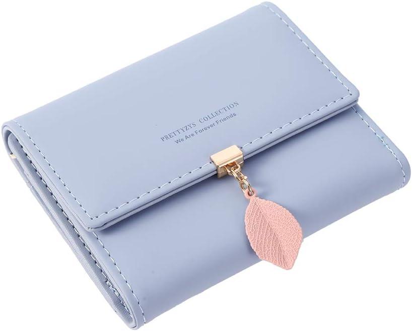 Thursday April Monedero de Mujer Billetera para Mujer con Múltiples Ranuras para Tarjetas Cartera de Cuero PU Colgantes de Hojas Monedero con Cremallera(Azul Claro)