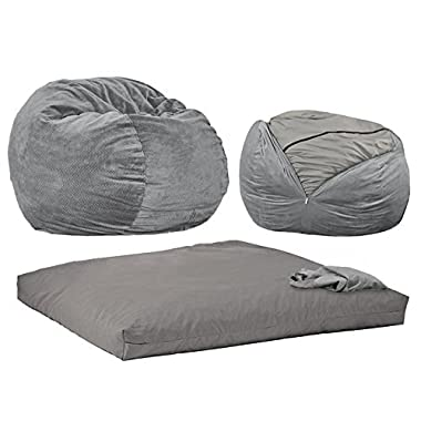 CordaRoy's - Charcoal Chenille Beanbag Chair - Queen Sleeper