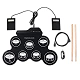 HJJH Roll-Up Electronic Drum Set, Portable Drums, Tabletop Drum Set, 7 Pad Digital Drum Kit, Touch Sensitivity, Electric Drum Pads,Very Convenient To Carry And Store.