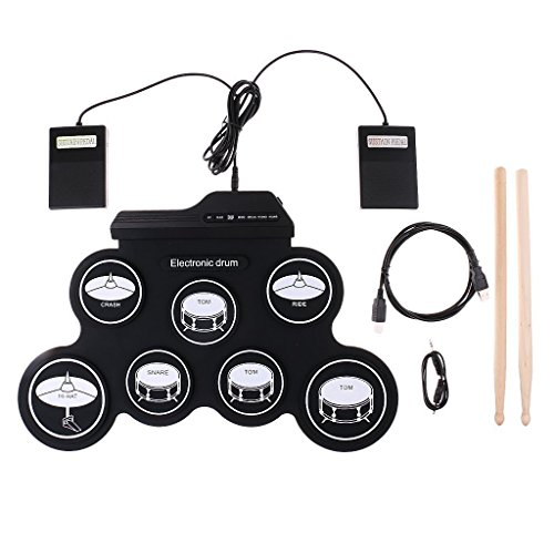 HJJH Roll-Up Electronic Drum Set, Portable Drums, Tabletop Drum Set, 7 Pad Digital Drum Kit, Touch Sensitivity, Electric Drum Pads,Very Convenient To Carry And Store. by HJJH