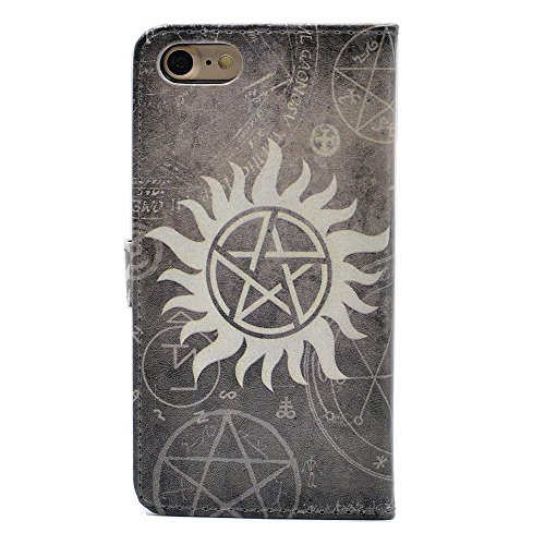 iphone 7 Case Supernatural Pentagram Star Pattern Leather Wallet Case Stand Cover with Cash Card Slots for iphone 7,iphone 8 (4.7inch)