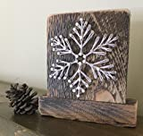"Sweet and small free standing wooden ""snowy"" snowflake string art decor. Perfect for holiday home accents, ski cabins and snowflake gifts for winter enthusiasts."