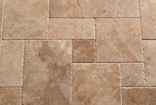 Travertine Pool - Walnut Travertine Roman / MIDI Versailles Pattern Tiles, Unfilled / Brushed & Chiseled (Small Sample)