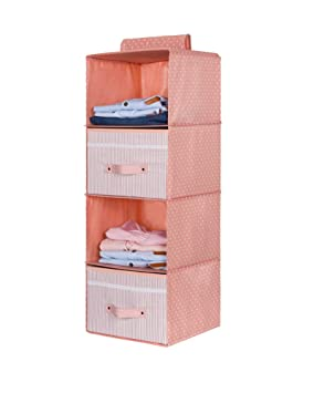 ZiXingA Estantes Colgantes, Armario Plegable de 4 estantes con cajón Armario de Tela Estante de Almacenamiento para Ropa, suéteres, Zapatos Juguete de ...