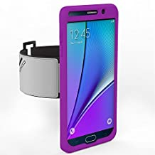 Galaxy Note 5 Armband, MoKo Silicone Armband for Samsung Galaxy Note 5 5.7 Inch 2015 release - Key Holder Slot, well-rounded protection, Perfect Earphone Connection while Workout Running, PURPLE