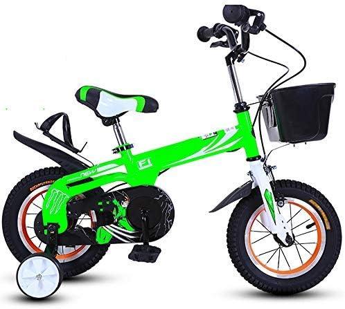 YSA キッズバイク、子供用自転車、トレーニングホイール付き12/14インチの男の子と女の子のサイクリング、2〜5歳の子供に適していますレッドブルーグリーン