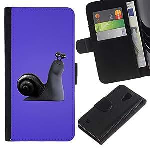 A-type (Púrpura Caracol) Colorida Impresión Funda Cuero Monedero Caja Bolsa Cubierta Caja Piel Card Slots Para Samsung Galaxy S4 IV I9500