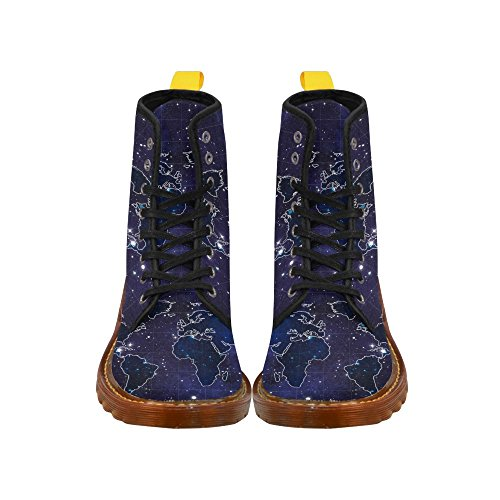 D-Story Shoes World Map Space Stars Lace Up Martin Boots For Women 11uGBlE