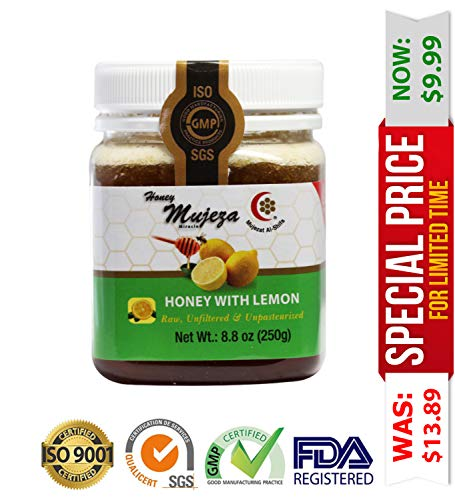 Mujeza Honey with Lemon - Natural Healthy Sweetener for Coffee and Tea - Raw, Unheated, Unfiltered and Unpasteurized 250g / 8.8oz ()