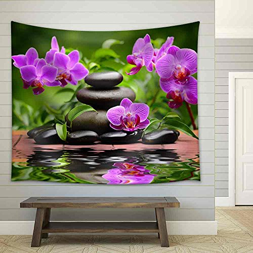 Zen Basalt Stones and Orchid Fabric Wall Tapestry