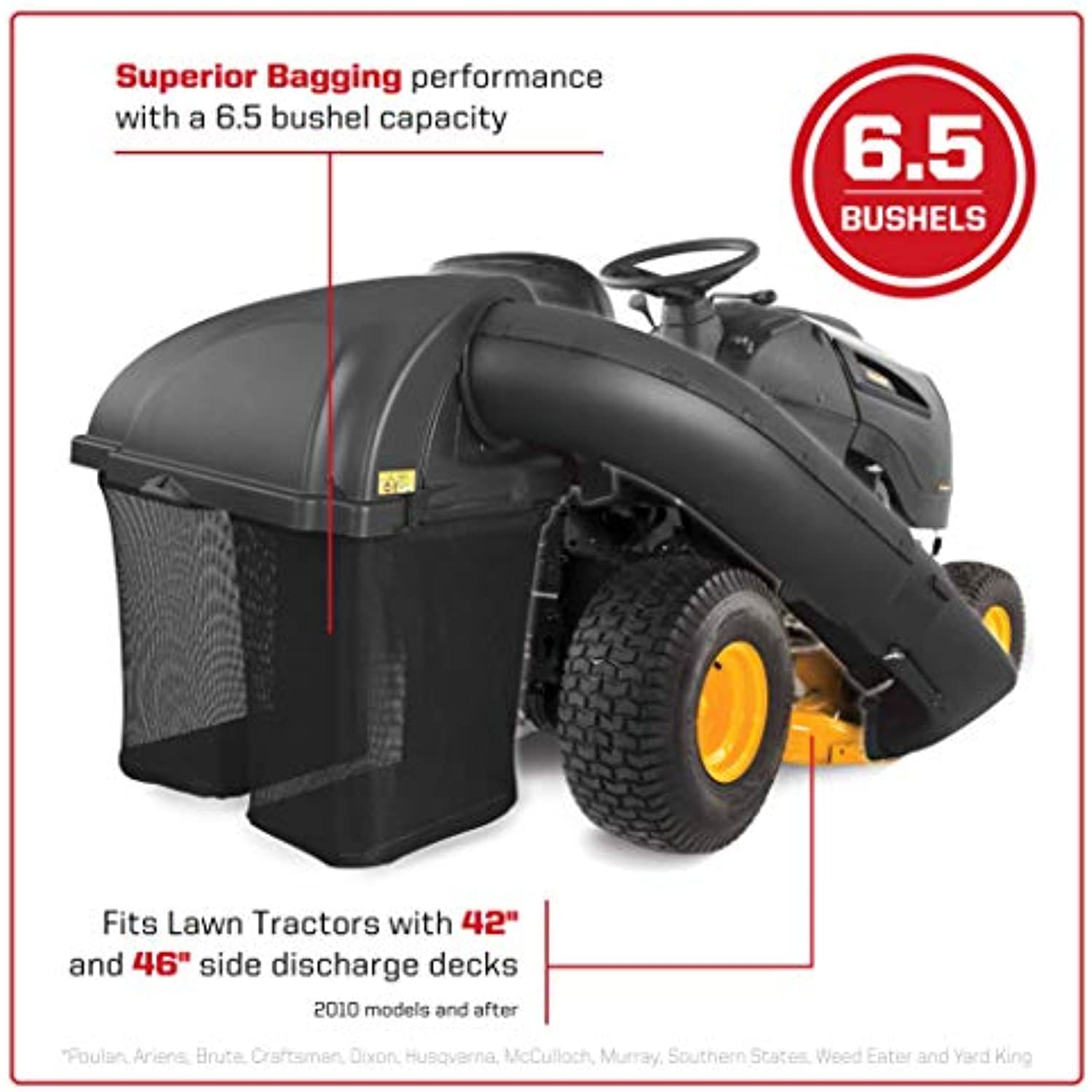 Arnold Corporation 19A30034000 Twin Bagger for Husqvarna Outdoor Products-Made Tractors with 42 and 46 Side Discharge Decks, Black