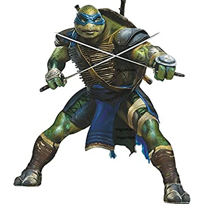10 Inch Leo Katana Swords Leonardo Blue Turtle TMNT Teenage Mutant Ninja Turtles Movie Removable Peel Self Stick Wall Decal Sticker Art Kids Room Home Decor Boys Room 9 inch x 10 1/2 inch tall: Home Improvement