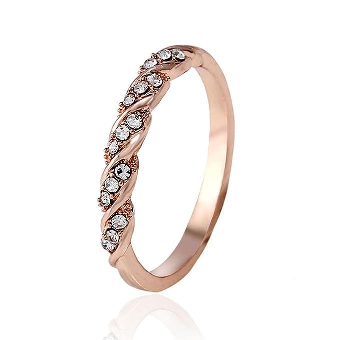 Amazon.com: cuekondy Mujer Niñas compromiso boda de diamante ...