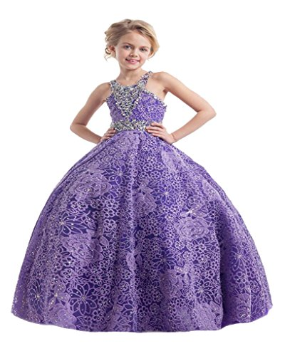 HSDJ Little Girls' Ball Gown Halter Beads Flower Girls Holy Commuion Party Pageant Dresses 2 US (Commuion Dresses)
