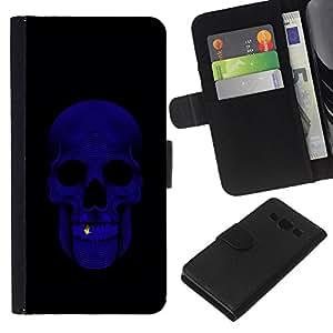 A-type (Skull Bling Purple Black Minimalist) Colorida Impresión Funda Cuero Monedero Caja Bolsa Cubierta Caja Piel Card Slots Para Samsung Galaxy A3