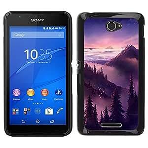Stuss Case / Funda Carcasa protectora - Puesta de sol salida del sol Montañas Árboles; - Sony Xperia E4