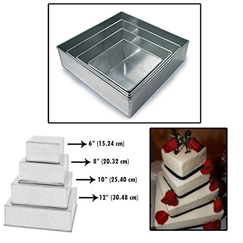 "Set of 4 Tier Square Multilayer Birthday Wedding Anniversary Cake Tins / Pans / Mould by Falcon 4"" Deep"