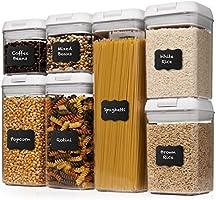 Shazo Airtight Container Set for Food Storage - 7 Piece Set + Heavy Duty Plastic - BPA Free - Airtight Storage Clear...