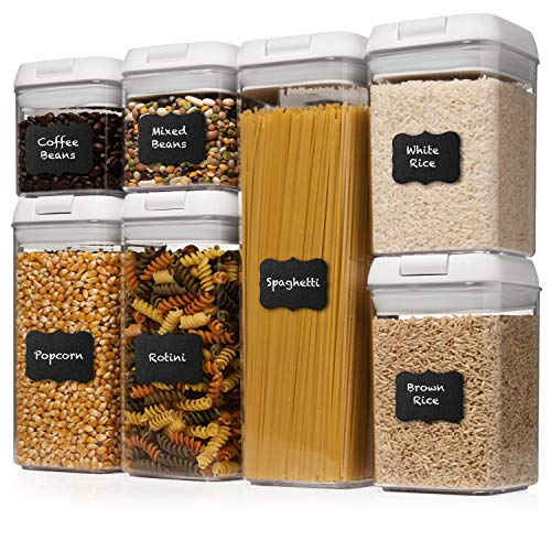 Shazo Airtight Container Set for Food Storage – 7 Piece Set + Heavy Duty Plastic – BPA Free – Airtight Storage Clear…