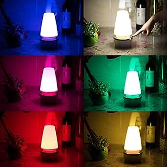 Nursery Lamp Elec3 Night Light Lamp Bedroom Atmosphere Lamp, Bedside Table Lamp 360 Degrees Touch Sensor 6 Color Changing RGB, Atmosphere Light, USB Charging Portable Desk Lamp, Warm Light