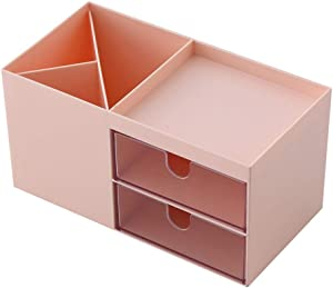 Desk storage box,Mini Desk Storage for Office Supplies, Toiletries, Crafts, etc — Great for Desk, Vanity, Tabletop in Home or Office,pink