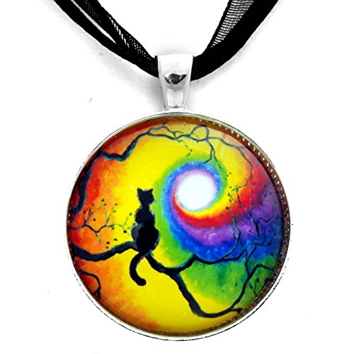 Black Cat Necklace Chakra Pendant Silhouette Rainbow Moon Cat in Tree Wiccan Handmade Meditation Boho Pagan Bohemian Jewelry Colorful (Silhouette Black Necklace)