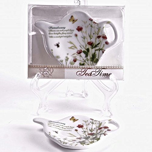 Jcook Home Decor Porcelain Tea Bag Holders in Gift Box - Field Flowers - Set of 2