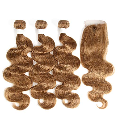 X-tress Brazilian Remy Hair Light Brown Wavy Bundles with Free Part Lace Closure Body Wave Human Hair Extension 100% Human Hair Weave Champagne Hair Extension 27# (14'' 16'' 18'' +12'')