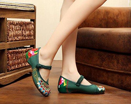 estilo Zapatos femenina moda c¨®modo ¨¦tnico tela tend¨®n aumento bordados zapatos dentro xiuhuaxie green casual lenguado del GuiXinWeiHeng del de Ywq7pPx7
