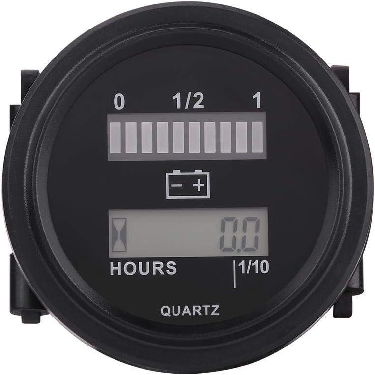 Battery Indicator Hour Meter,Tbest 12V//24V//36V//48V//72V LED Digital Battery Indicator Gauge with Hour Meter for 12V//24V//36V//48V//72V volt DC battery