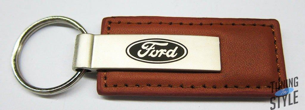 Ford Brown Leather Key Fob Authentic Logo Key Chain Key Ring Keychain Lanyard Au-TOMOTIVE GOLD INC 4350399553