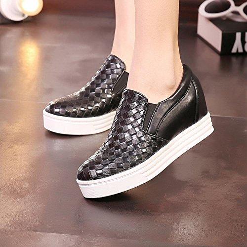 Latasa Damesmode Geruite Platform Binnen Lage Sleehak Instappers Sneakers, Instappers Zwart