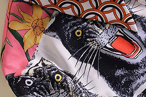 Whiite Tigre Manga Estampada Camisa Chifón Blusa Larga YUqCPWxZw