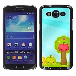Caucho caso de Shell duro de la cubierta de accesorios de protección BY RAYDREAMMM - Samsung Galaxy Grand 2 SM-G7102 SM-G7105 - Fruit Apples