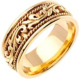 14K Gold Floral Paisley Women's Comfort Fit Wedding Band (9mm)