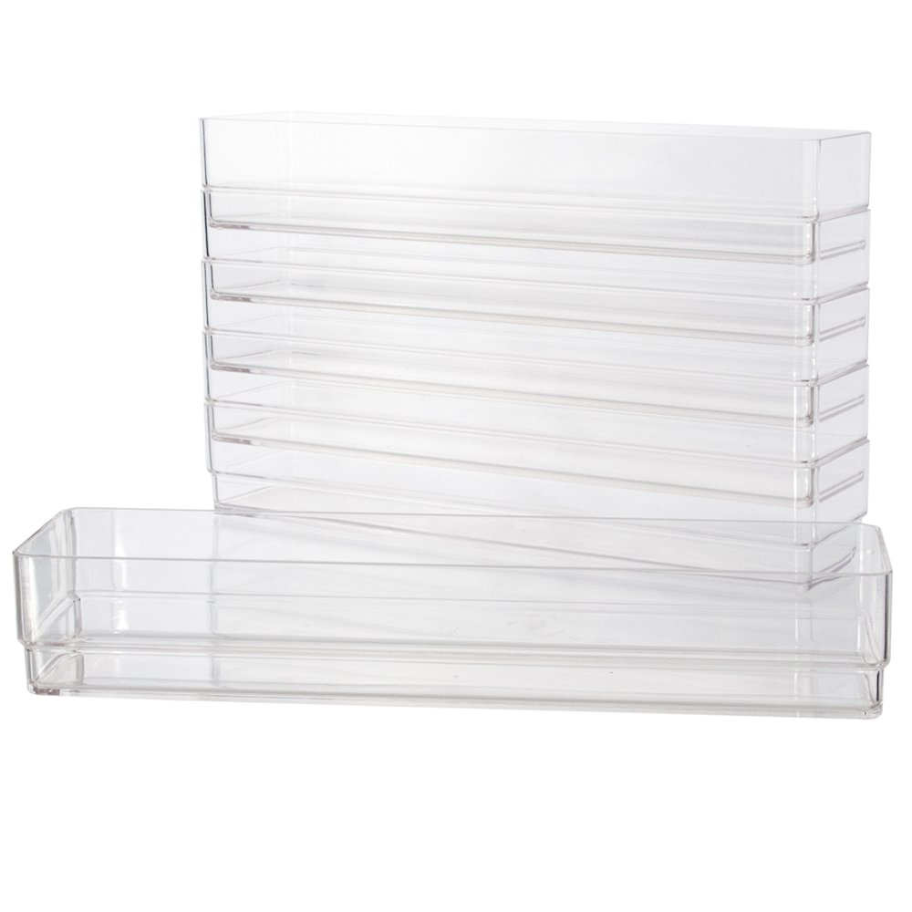 "Clear Plastic Drawer Organizers 12"" x 3"" x 2"" l Set of 6"