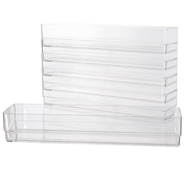 Clear Plastic Drawer Organizers 12  x 3  x 2  l Set of 6