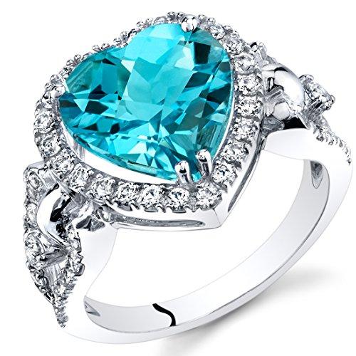 Swiss Blue Topaz Heart Shape Halo Ring in 14K White Gold (4.00 - Topaz Ring Blue Gold 14k 4 White Ct