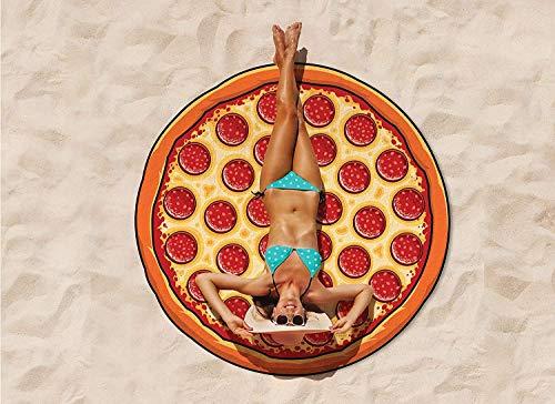 Tokenhigh Pizza Beach Blanket, Oversized Beach Towel, Picnic & Outdoor Blanket for Beach, Pool, Lake, Outdoor, Camping, Ulta-Soft Microfiber Towel, 5 Feet Wide, Washing Machine Friendly