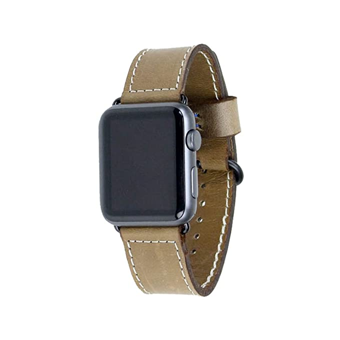 Leather Watch Band Compatible with Apple Watch 38mm - Light Brown Horween Leather Strap for Watch with Black Hardware - Made in USA by Rugged Material ...