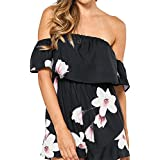 SUNNYME Women's Off Shoulder Rompers Print Floral Ruffle Backless Playsuits Short Jumpsuits Black M