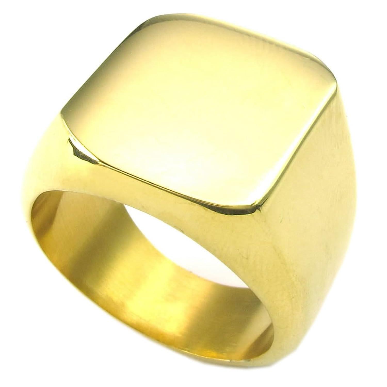 KONOV Joyería Anillo de hombre Sello Acero inoxidable Color oro con bolsa