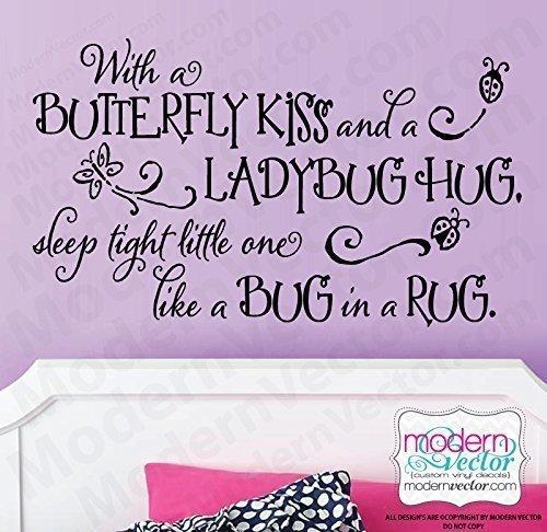 Butterfly Kisses Ladybug hugs Vinyl Wall Decal