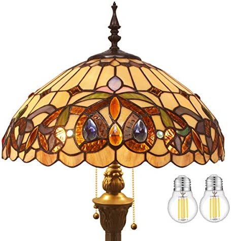 Tiffany Style Floor Standing Lamp W16H64 Inch LED Bulb Included Stained Glass Serenity Victorian Lampshade Antique Reading Light S021 WERFACTORY Lamps Bedroom Living Room Bedside Table Lover Gifts