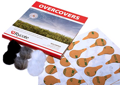 Rycote 065505 Overcovers with 30 Stickies and 6 Re-usable Fur Discs for Lavalier Mics, Two of Each Black/Grey/White