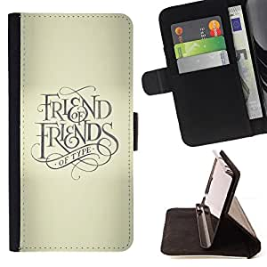 BullDog Case - FOR/Sony Xperia Z3 D6603 / - / FRIEND KEEP GOD CROSS BEIGE TEXT /- Monedero de cuero de la PU Llevar cubierta de la caja con el ID Credit Card Slots Flip funda de cuer
