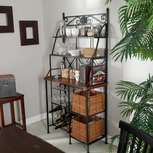 Metal Bakers Rack with Wine Storage, Wine Glass Storage and 2 Pull-out Storage Baskets by Belham Living (Image #1)